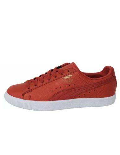 Puma Clyde Dressed Lace Up Red Leather Trainers Size 11.5 US