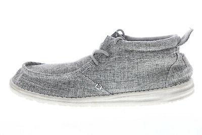 Hey Dude Linen 111663901 Mens Gray Surf Casual Boat Shoes