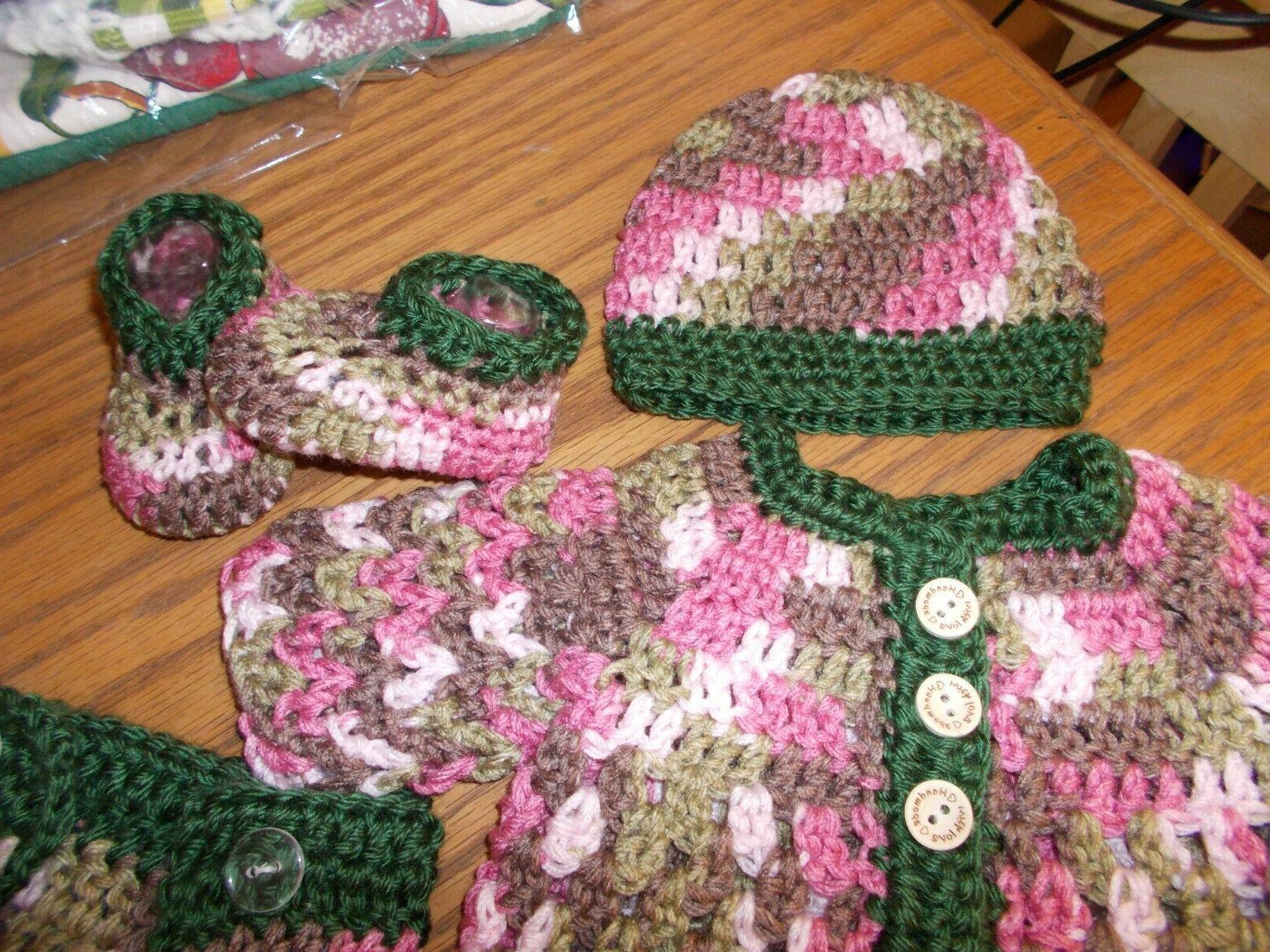 Handmade Crochet Shoes & diaper cover-Rocky Mountain