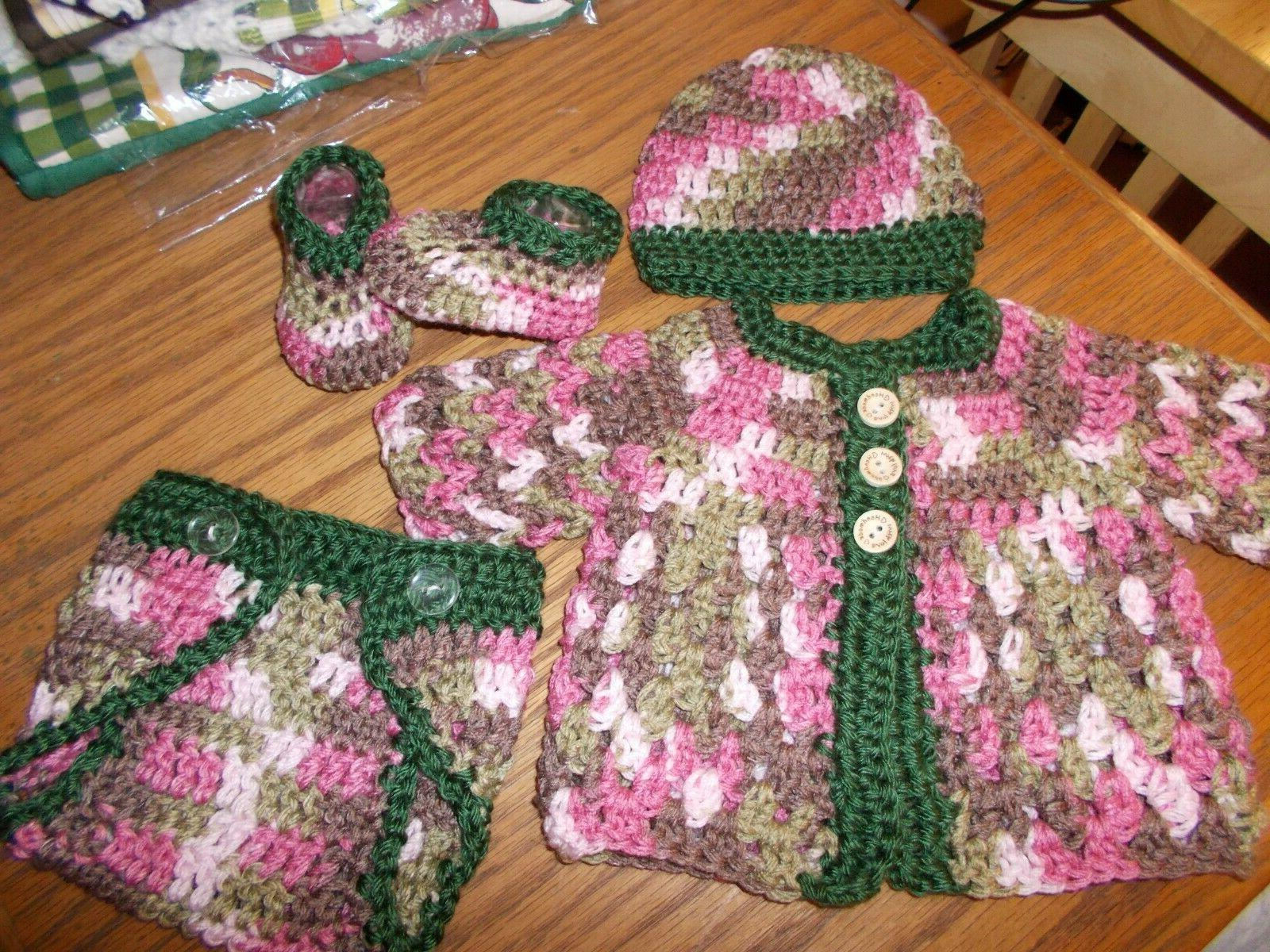 crochet baby sweater hat shoes and diaper