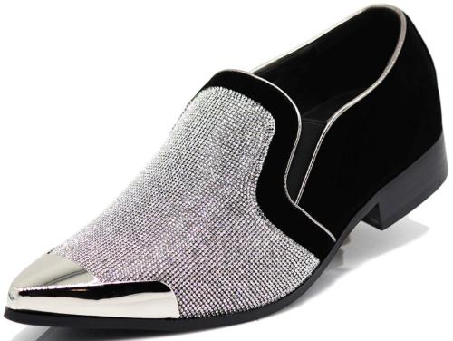 Enzo Romeo Men's Rhinestone Chrome Toe Suede Pointy Dress Lo
