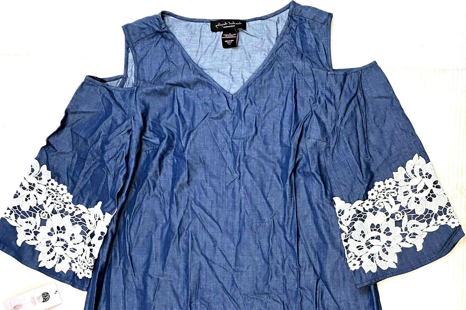 Isabel Denim Lace Shoulder Blue, Size MSRP $68.00
