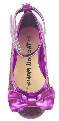 Girl's Sparkly Wedding Party Dress Shoes Glitter Purple w/ A