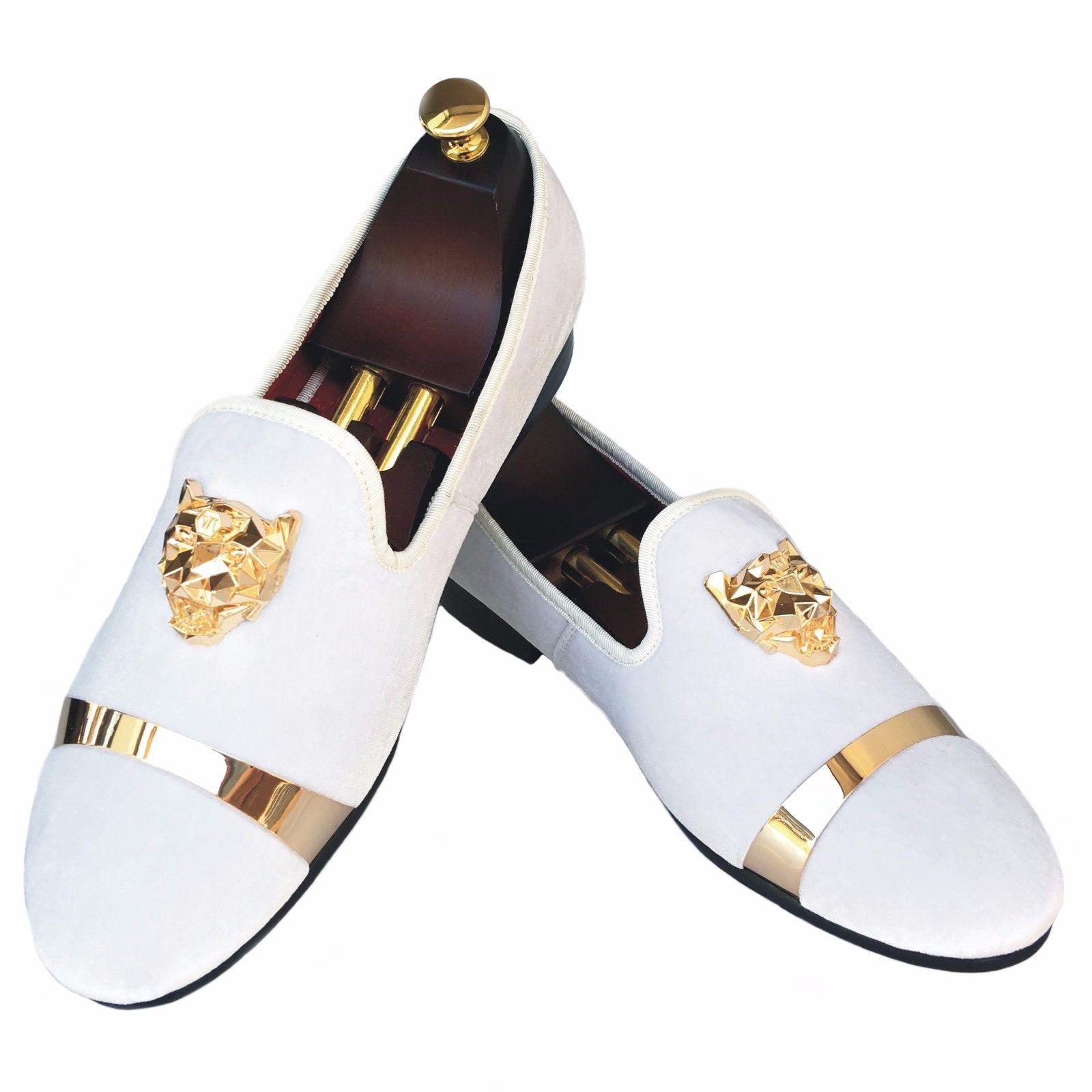 Handmade Mens Velvet Loafers Slippers with Gold Buckle Weddi