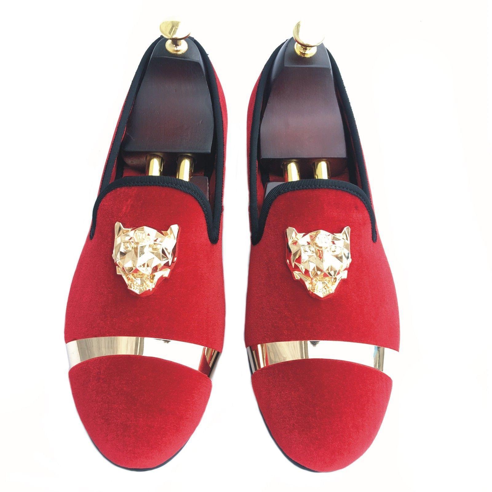 Handmade Velvet Slippers with Gold Buckle Wedding Dress Shoes New