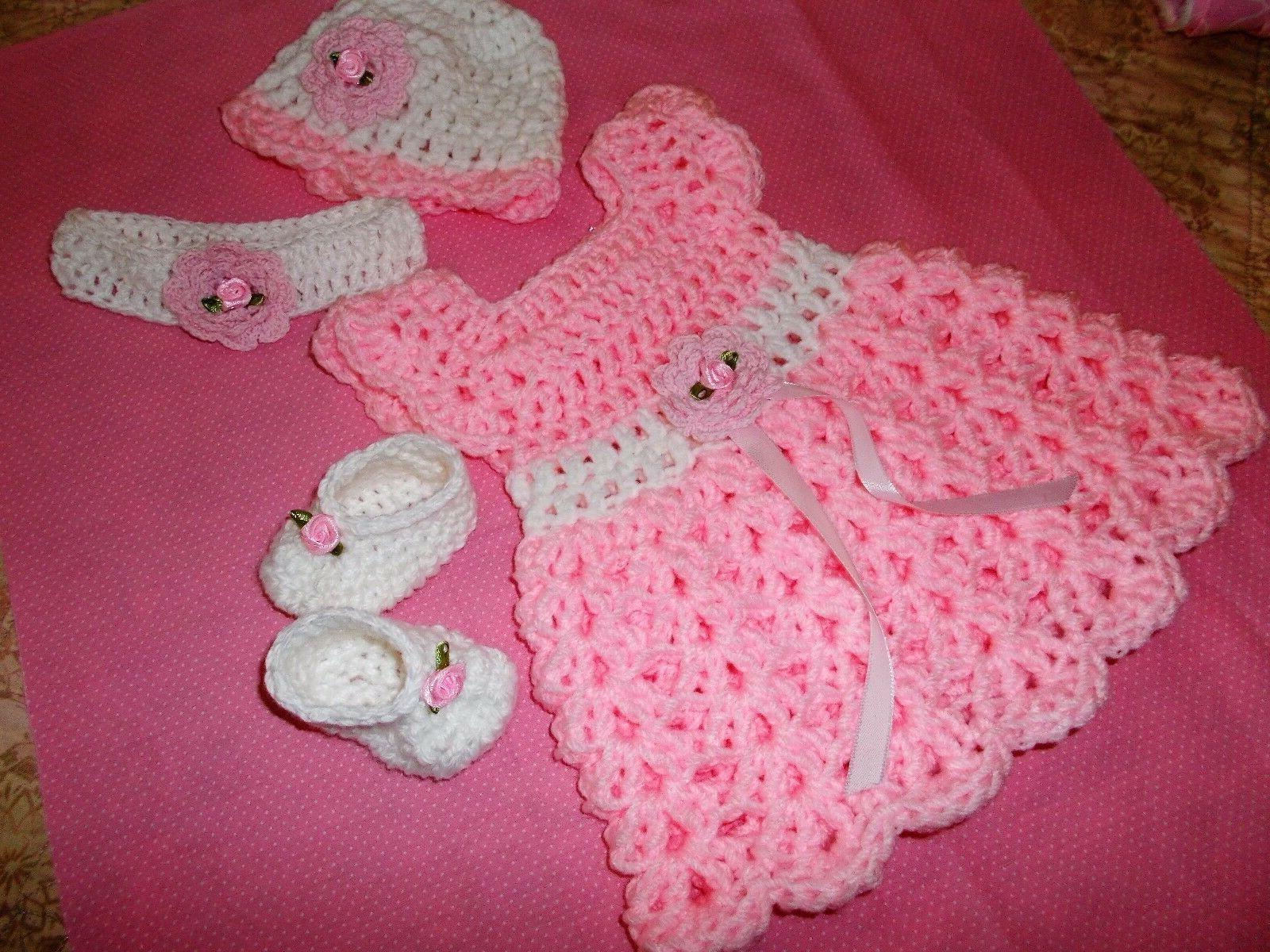 Handmade in USA Crochet baby girl shoes&