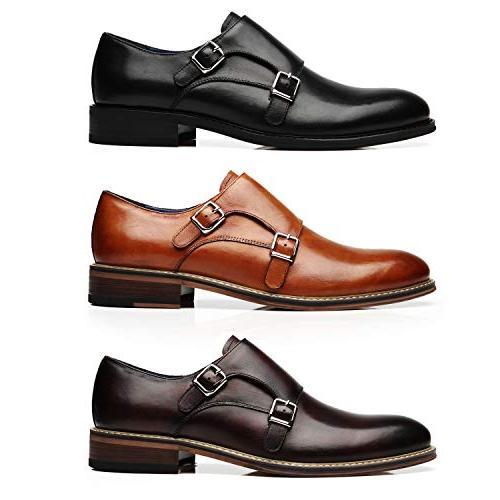 La Mens Double Monk Strap Slip-on Comfortable Business Dress Shoes for Men