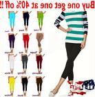Womens capri leggings seamless skinny slim fit cropped solid