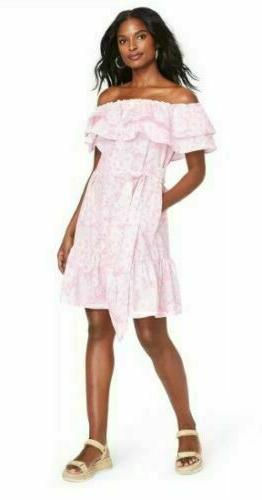Lisa Marie Target Floral Print Off the Shoulder Pink Size