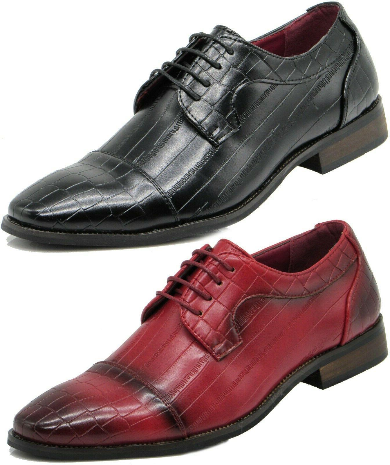 men dress shoes crocodile print oxford leather