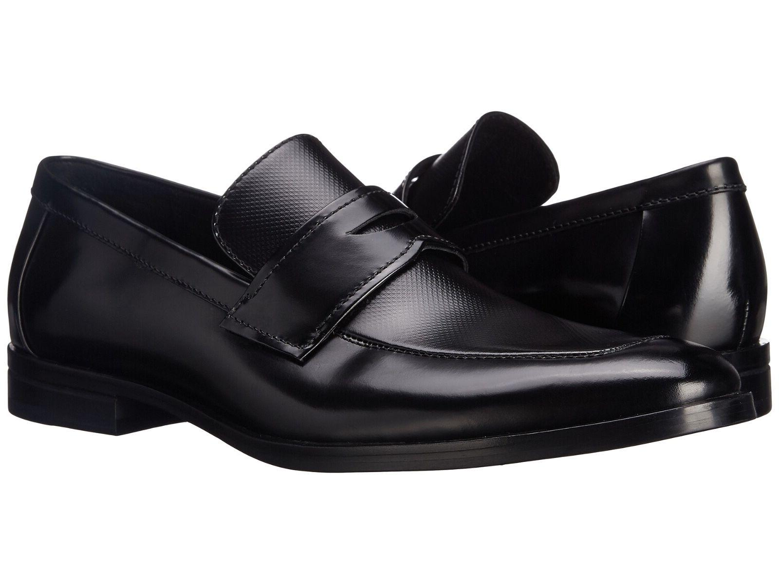 Men Dress Shoes Calvin Klein Karl Textured Box Leather Slip