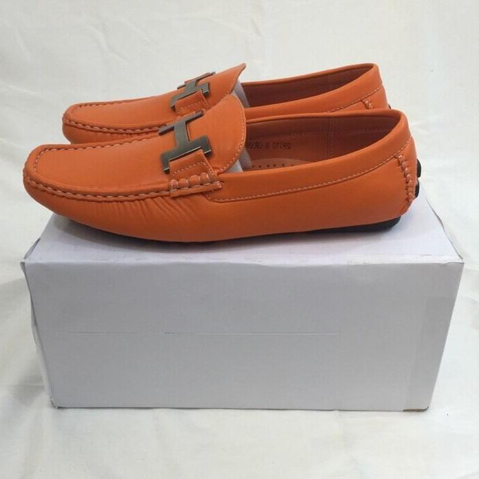 MEN DRESS SHOES Solid Orange Stitch