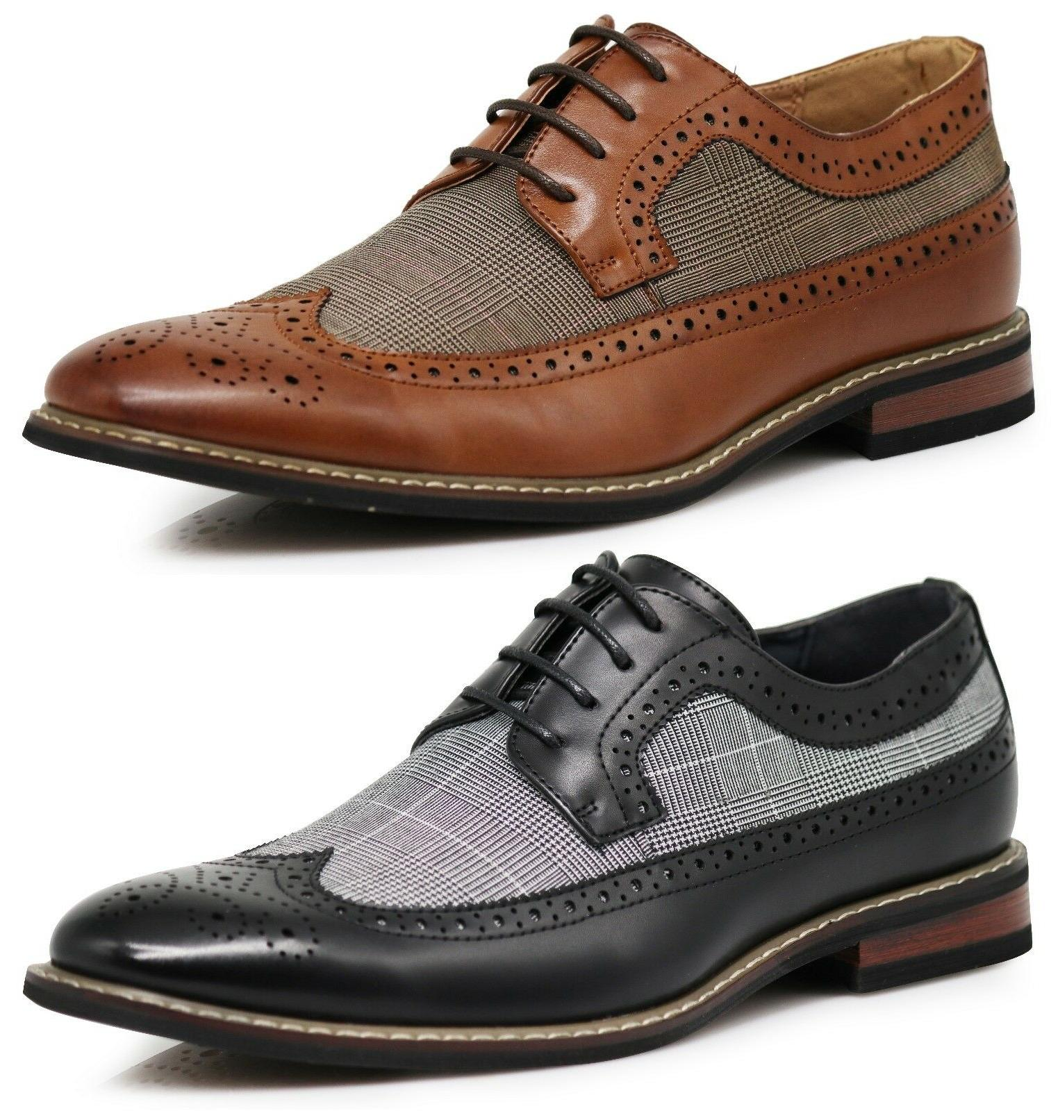 Men Dress Shoes WingTip Oxford Leather Lined Lace Up Black B