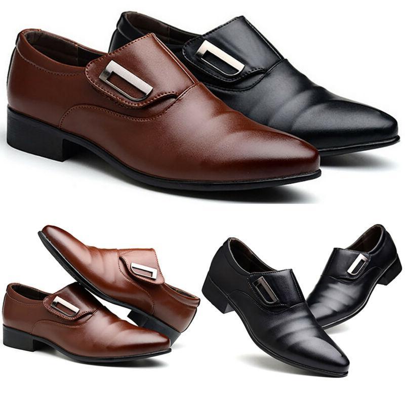 Men Formal Dress Pointed Toe Shoes Office Wedding Slip On