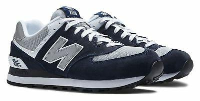 New Balance Men's 574 Classics Shoes Navy with Grey & White
