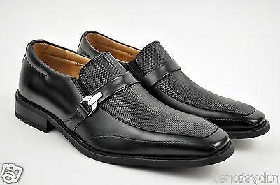 NXT Men's Black Genuine Leather Dress Shoes Slip On Buckle M
