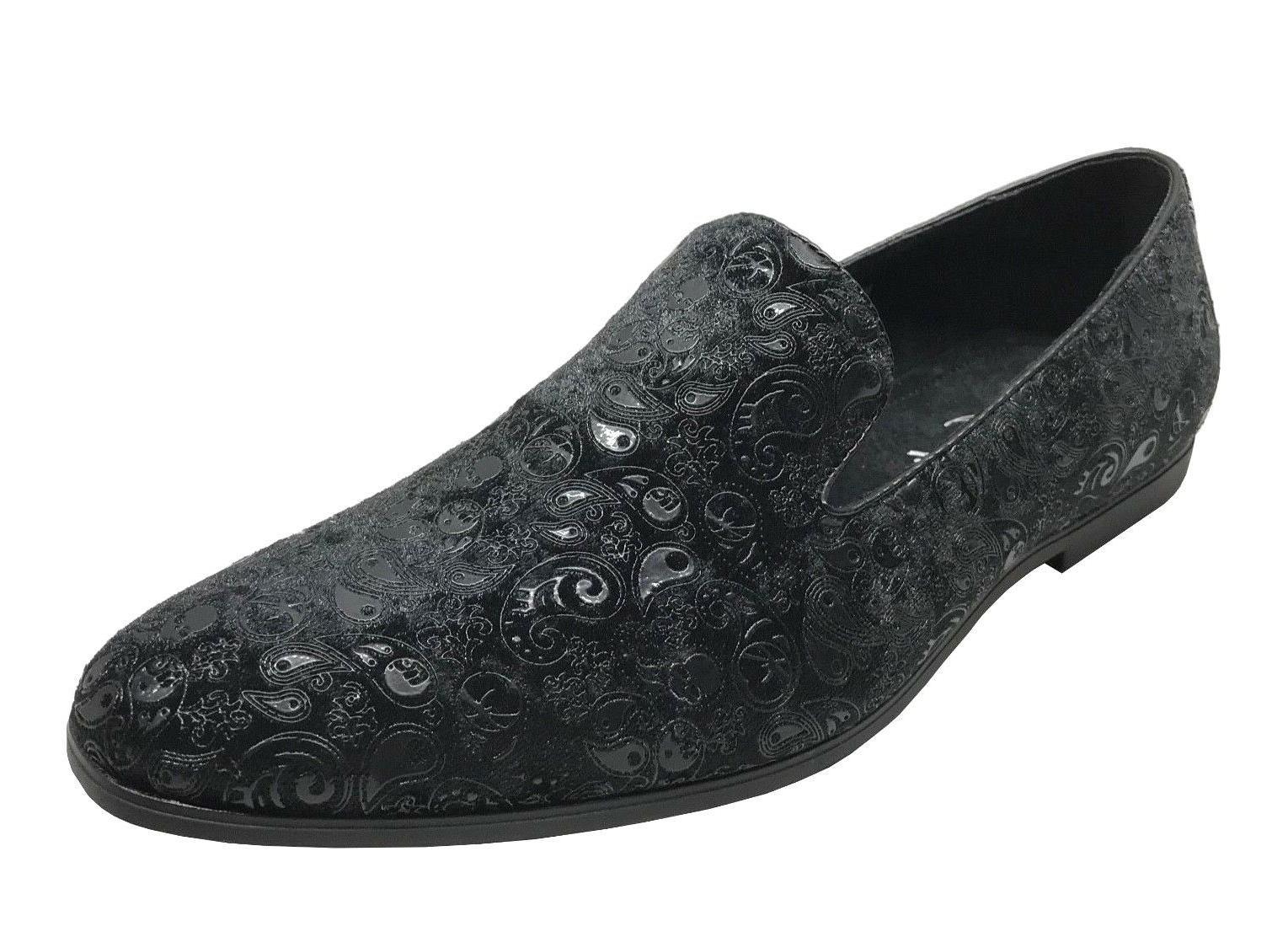 Amali Men's Black Paisley Velvet Slip On Dress Shoes Metta-0