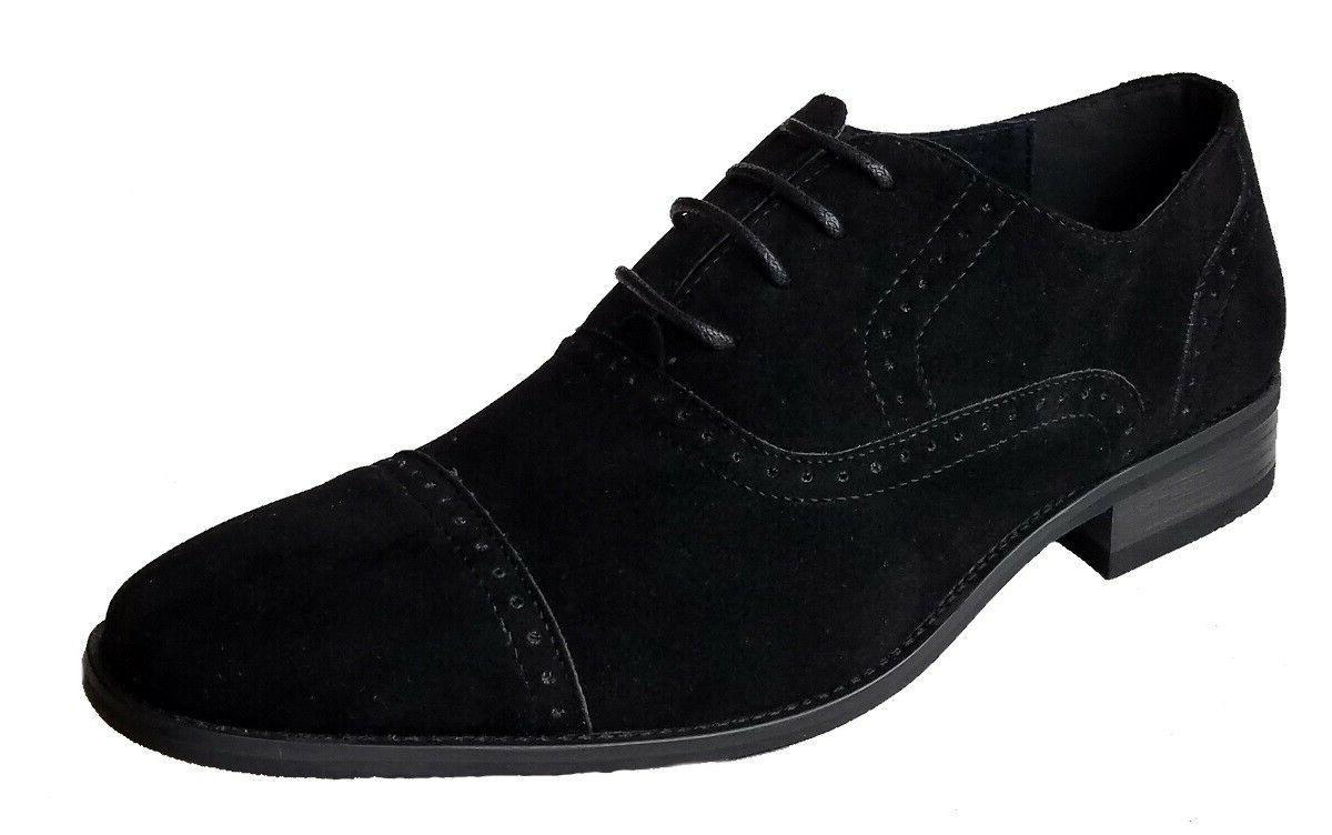 men s black suede cap toe lace
