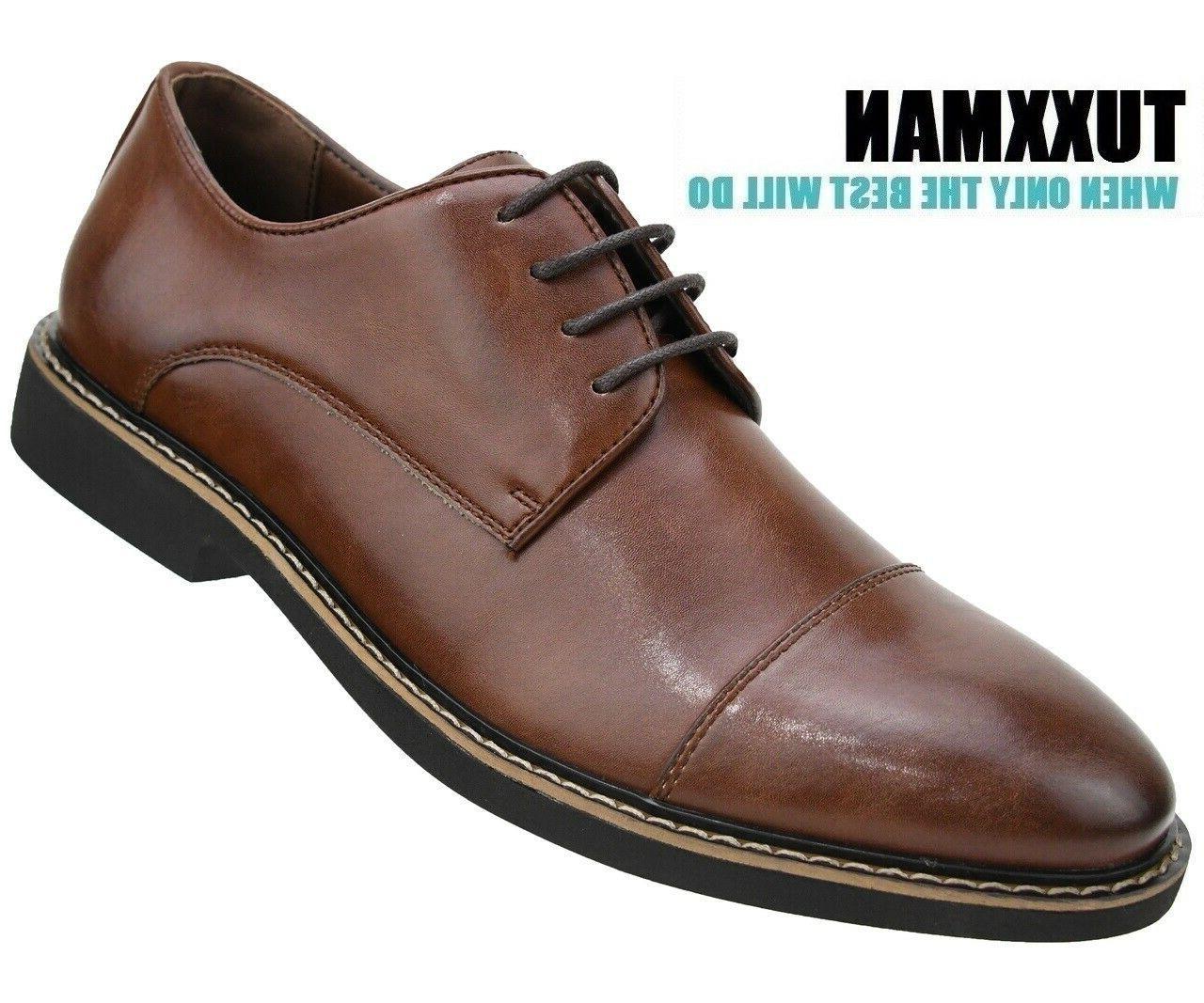 men s brown cap toe oxford lace