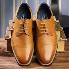 OUOUVALLEY MEN'S CLASSIC MODERN OXFORD WINGTIP LACE DRESS SH