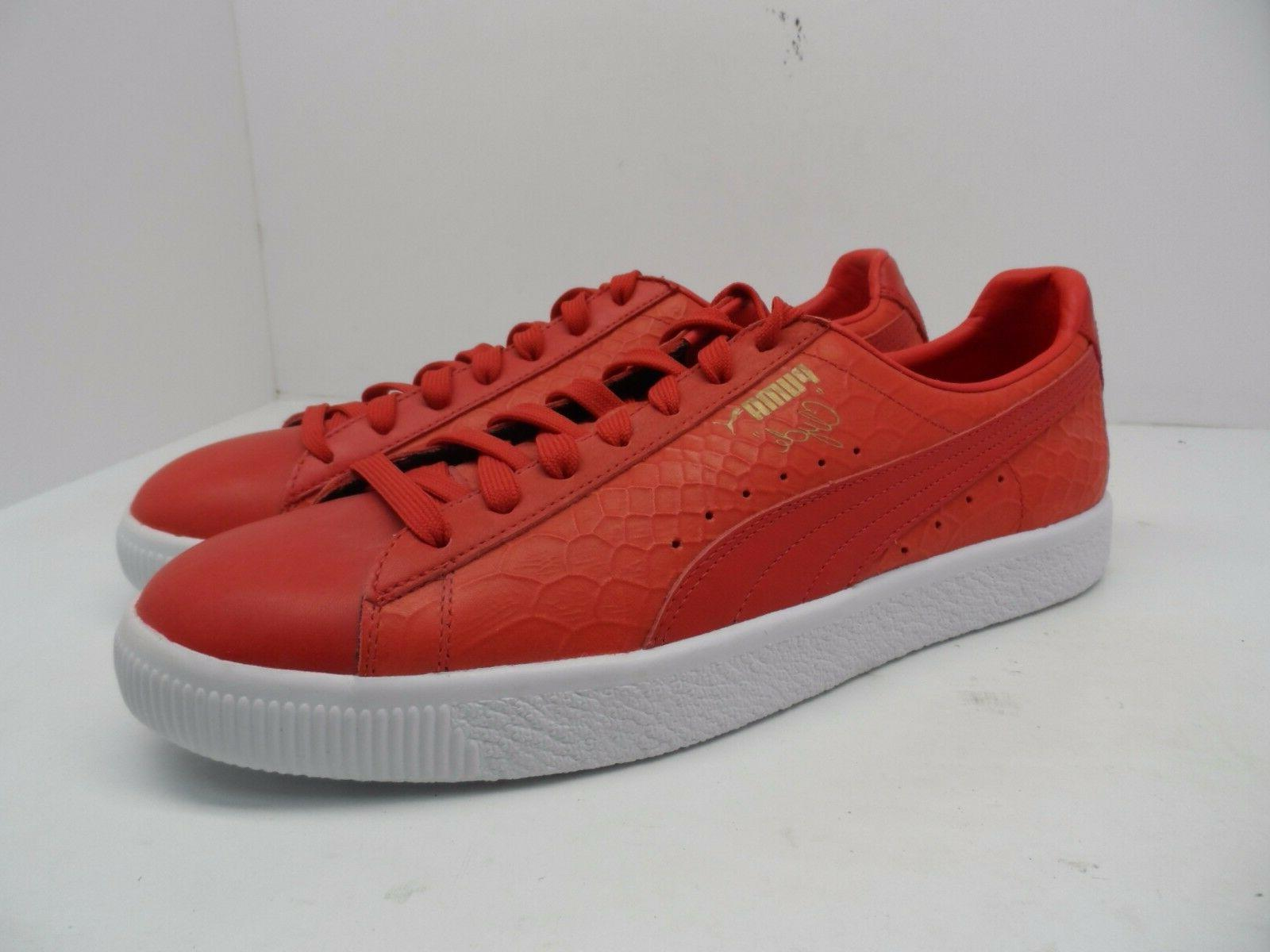 PUMA Men's Clyde Dressed Athletic Casual Fashion Shoe Red/Wh