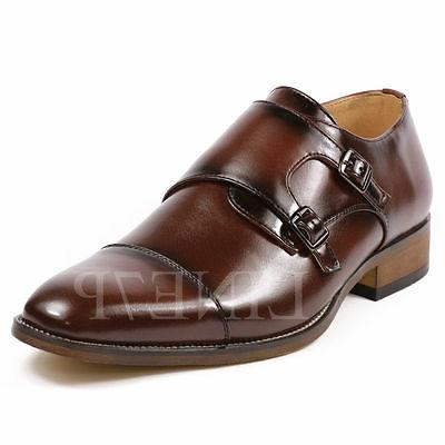 Men's Double Monk Strap Cap Toe Slip On Loafers Fashion Dres