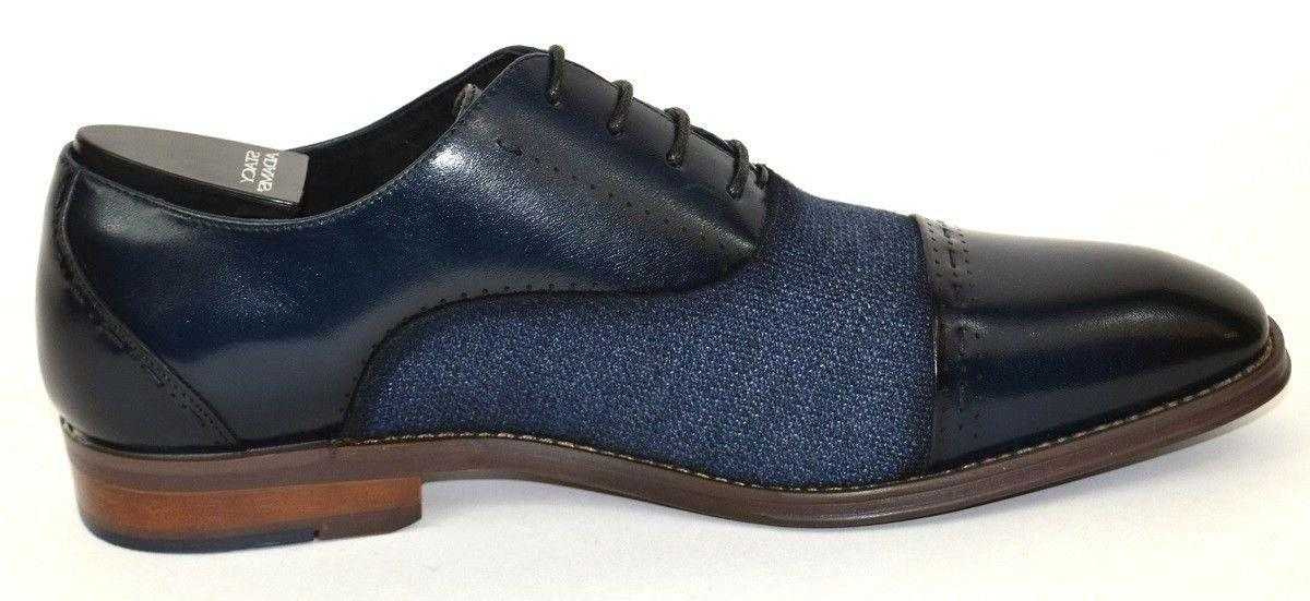 Men's Toe Oxford Navy Blue Leather 25222