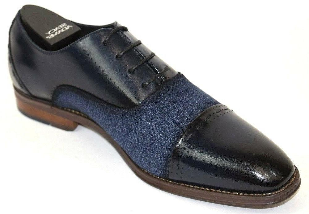 Men's Dress Shoes Toe Navy Blue Leather STACY ADAMS 25222