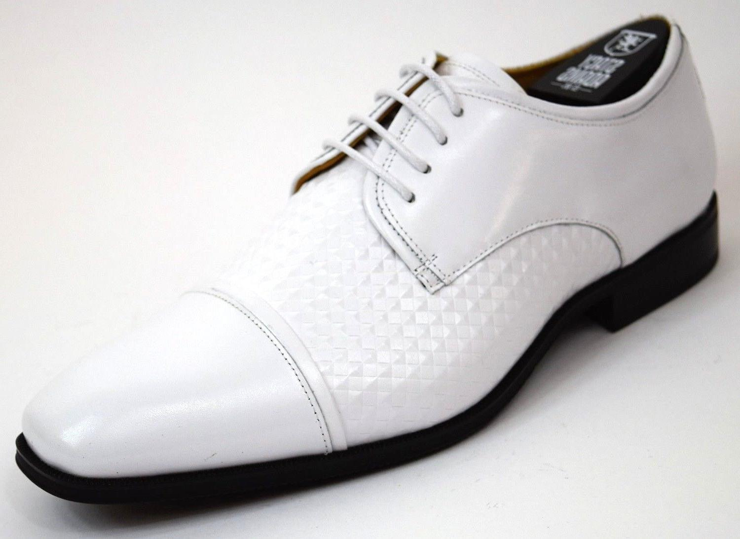 Men's Stacy Adams Dress Shoes Cap Toe Oxford Solid White Lea