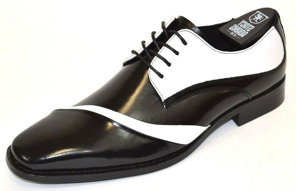 Men's Dress Shoes Folded Vamp Oxford Black/White Leather STA