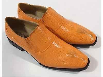 Men's Dress Shoes AMALI ORANGE Gator Head Print SLIPONS $45.