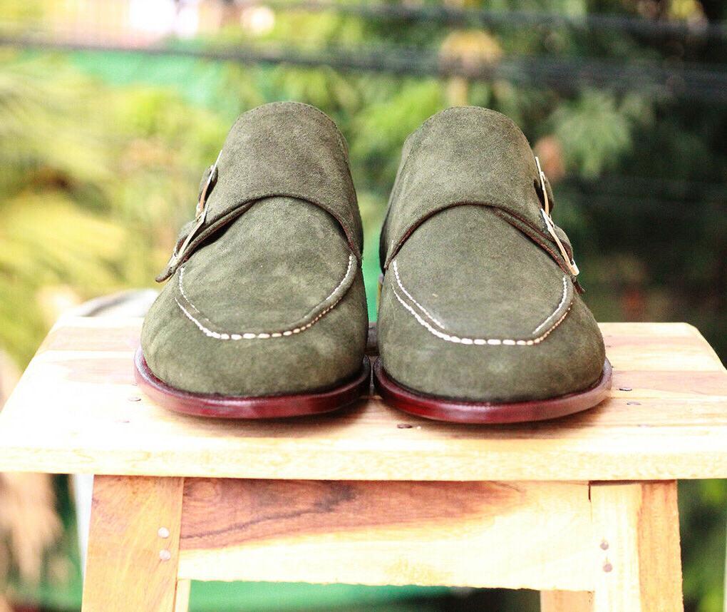 Handmade Men's Double Monk Fashion Shoes