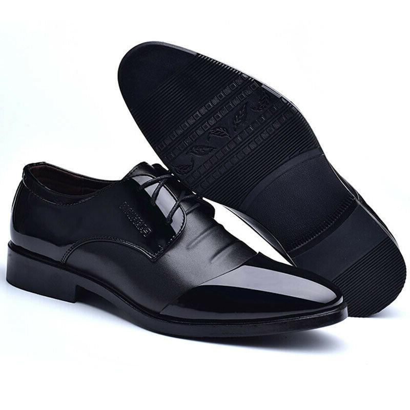 Men's Lace Leather Wedding Formal Shoes Cap Toe