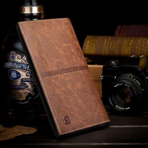 Men's Bifold Leather ID Card Holder Long Wallet Clutch Billf