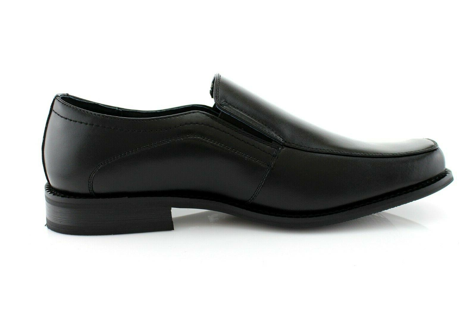 Men's Leather Work Dress Shoes Slip-On Loafers
