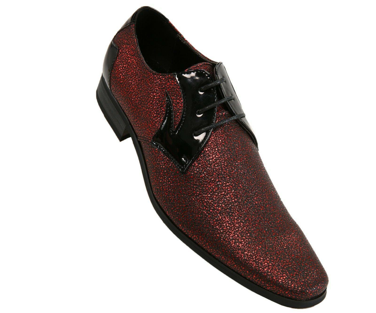 Amali Men's Metallic Red Speckled Oxford Tuxedo Dress Shoe S