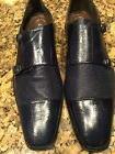 Stacy Adams Men's Navy Double buckle Dress Shoe  Leather 14