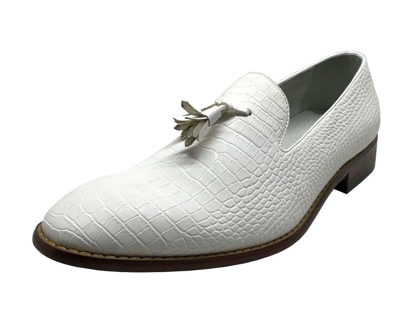 Amali Men's Slip On White Crocodile Print with Tassel Dress