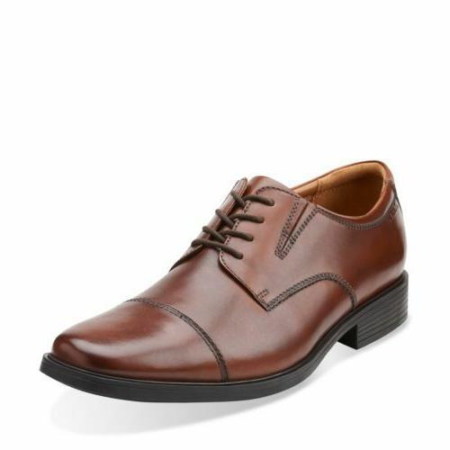 Clarks Men's Tilden Cap Toe Oxford Brown Leather Dress Shoes