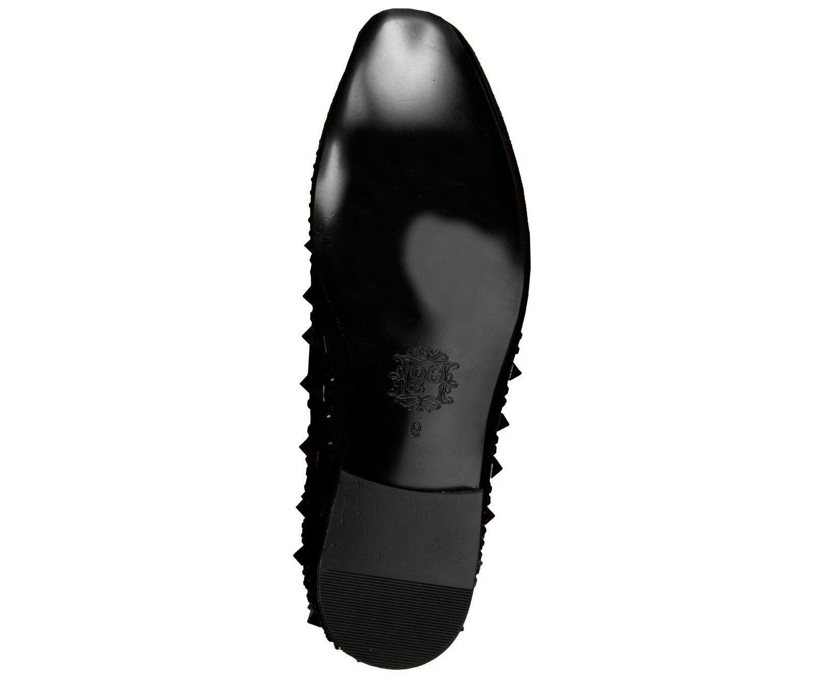Asher Men's Tonal Crystal and Studded Suede Slip :