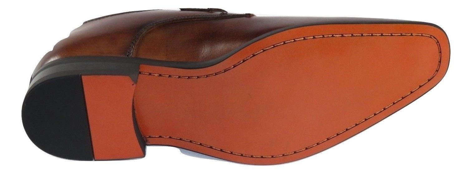 Men Dress Shoes Toe Monk Cognac