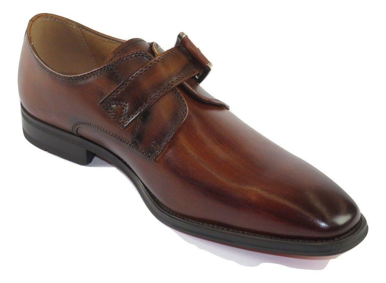 Men Soft Dress Shoes Monk Strap Cognac