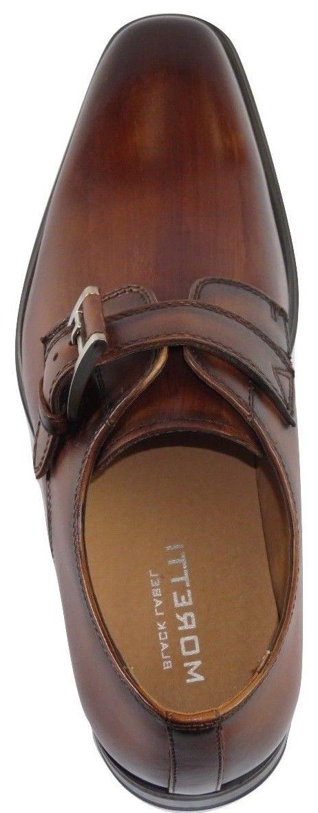 Men Moretti Soft Dress Shoes European Toe Monk Cognac