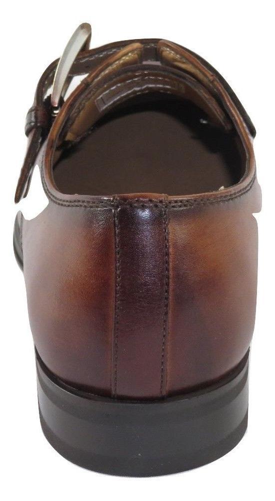 Men Dress Shoes European Toe Monk Strap 2tone Cognac