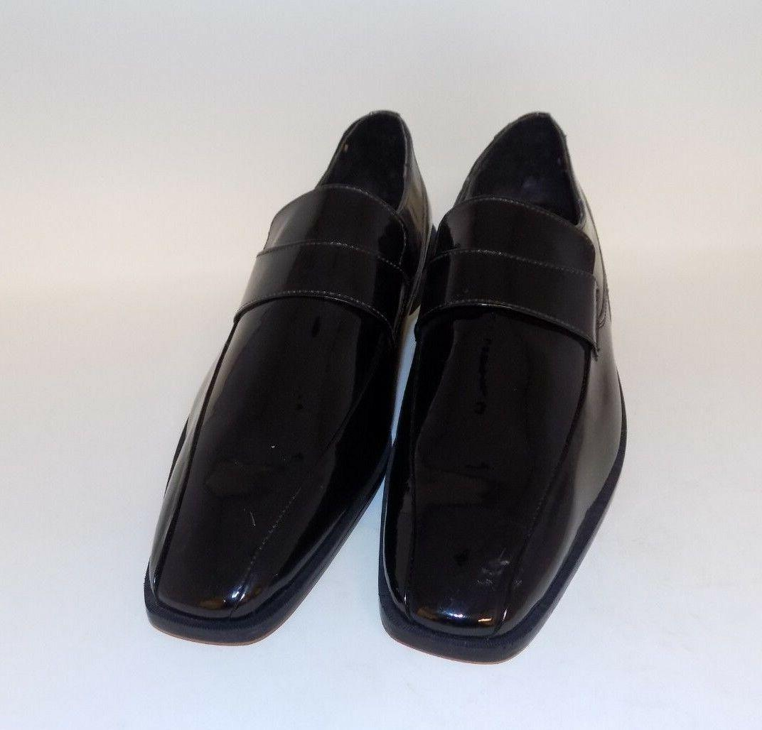 mens black patent slip on dress shoes