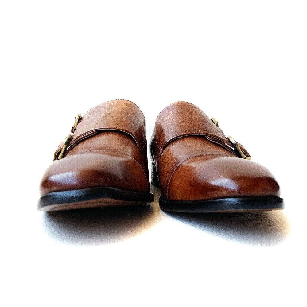 Mens Brown Double Monk Dress Shoes 8 10 12