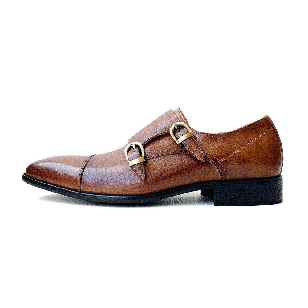 mens brown genuine leather double monk strap