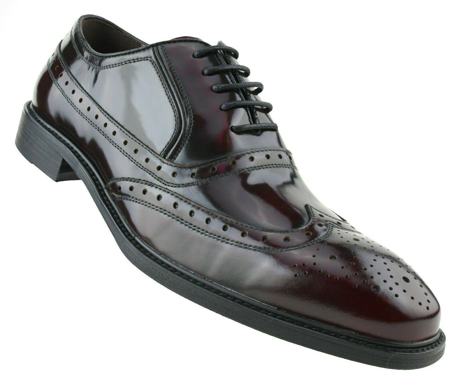 cc568da0c7765 Asher Green Mens Burgundy Genuine Box Calf Leather Wingtip Dress Shoe