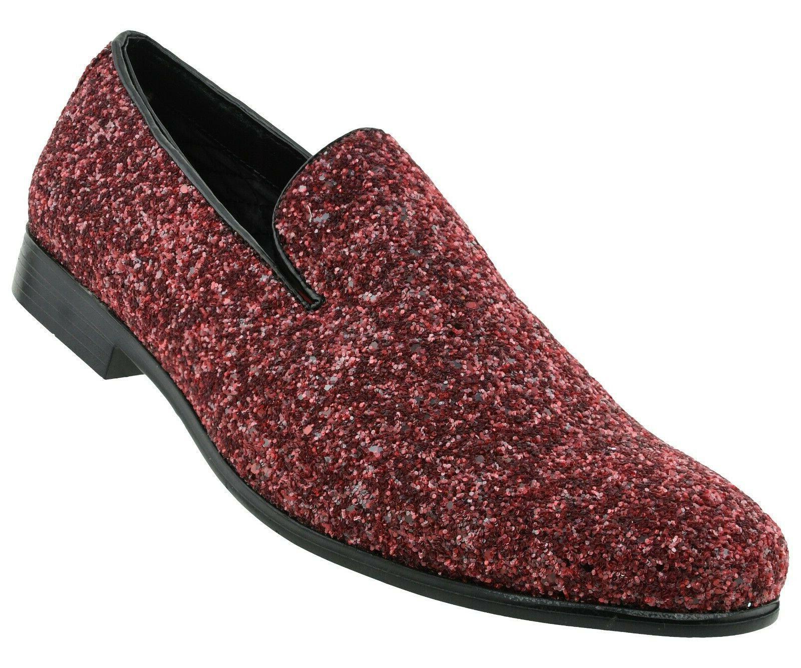 Amali Mens Burgundy Sparkling Glitter Slip On Tuxedo Dress S