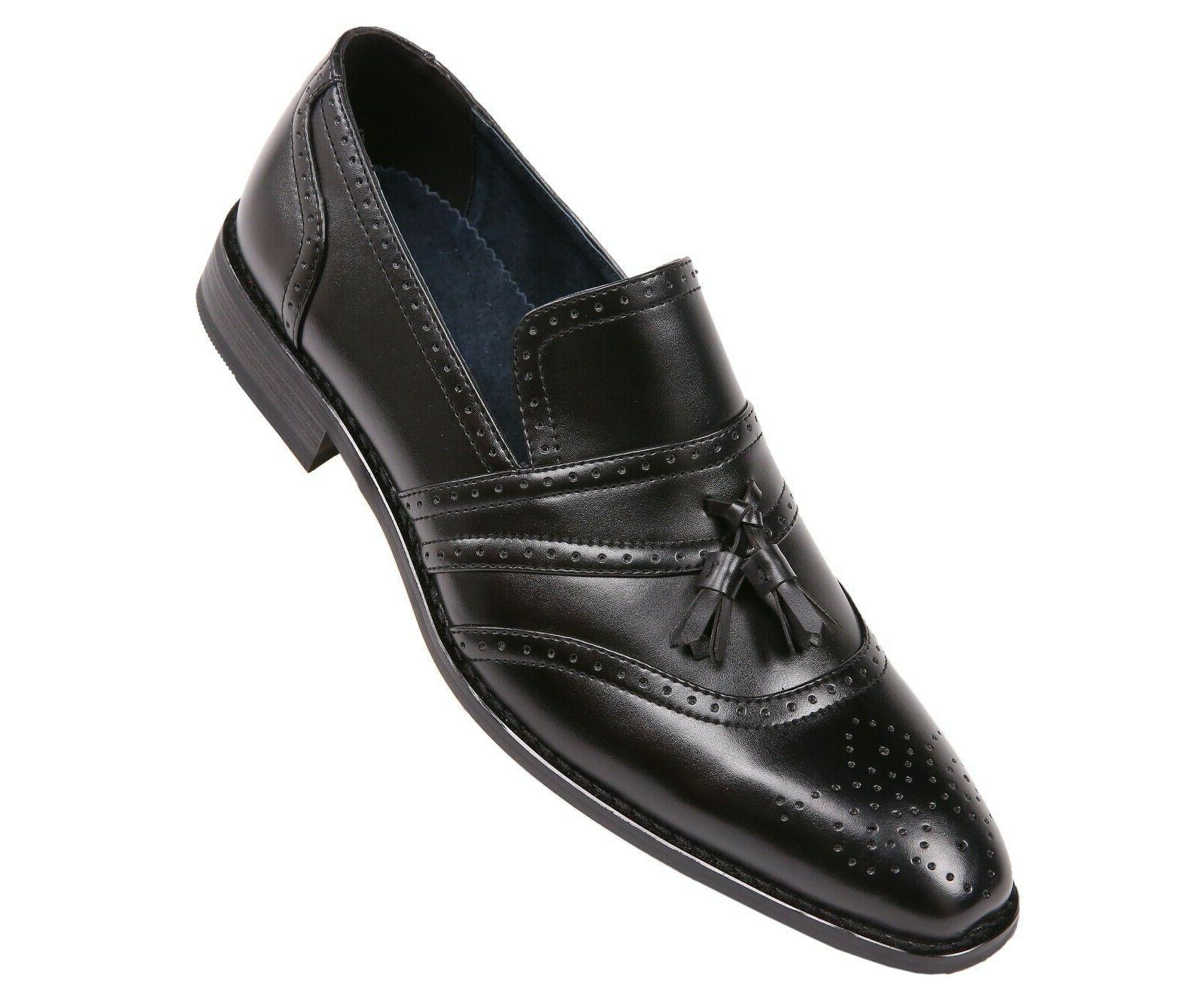 mens burnished smooth cap toe dress shoe